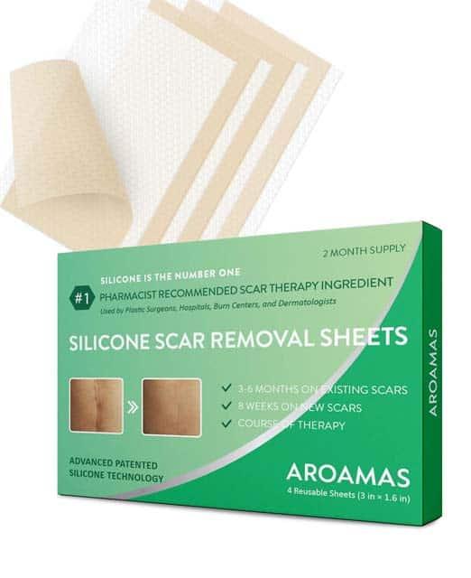 Aroamas parches de silicona profesional para la eliminación de cicatrices 7.60×4 cm (4 unidades)